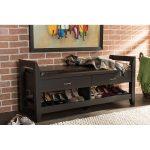 Dark Brown Shoe Storage Seating Bench