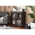 Dark Brown Sideboard Cabinet with Glass Doors