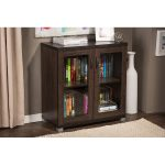 Dark Brown Sideboard Storage Cabinet with Glass Doors