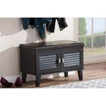Dark Brown Storage Bench Shoe Cabinet Organizer