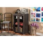 Dark Brown Storage Cabinet with Two Glass Doors