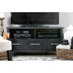Dark Brown TV Stand with Three Drawers
