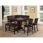Dark Brown Transitional 5-Piece Counter Height Dining Set – Harrison