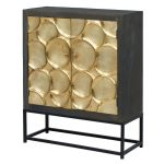 Dark Brown and Gold Cabinet with Metal Stand – Capiz Collection
