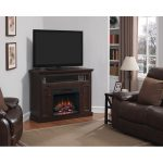 Dark Cherry TV Stand with Fireplace