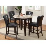 Dark Espresso and Marble Pub Round Dining Table – Montreal