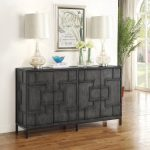 Dark Gray 4-Door Credenza – Amberly