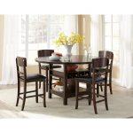 Dark Walnut 5-Piece Counter Height Round Dining Set – Hampton