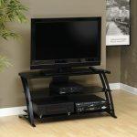 Deco Black/Glass Panel TV Stand
