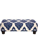 Diamond Blue Rectangle Ottoman