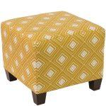 Diamond Yellow Square Ottoman
