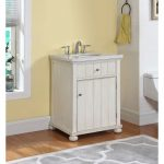 Distressed Antique White Vanity with Gray and White Stone Marble.