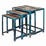 Distressed Blue Iron and Reclaimed Wood Nesting Tables-Set of 3