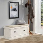 Distressed White Entryway Bench – Seaside