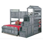Driftwood Rustic Twin-over-Full Loft Bed – Fort