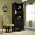 Edge Water Estate Black Library Bookcase with Doors