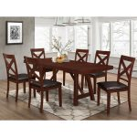 Espresso 7 Piece Solid Wood Trestle Style Dining Set