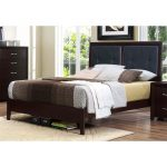 Espresso & Black Contemporary Queen Size Upholstered Bed – Edina