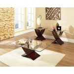 Espresso Brown & Glass 3 Piece Coffee Table Set