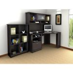 Espresso Oak Corner Desk with Hutch and Bookcase – Cabot