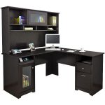 Espresso Oak L-Desk and Hutch – Cabot