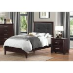 Espresso Twin Upholstered Bed – Edina Collection
