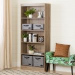 Five-Shelf Rustic Oak Bookcase – Axess
