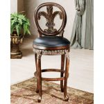 Fleur De Lis Distressed Cherry 25 Inch Counter Stool
