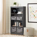 Four-Shelf Gray Oak Bookcase – Axess
