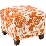 Garden Bird Orange Square Ottoman