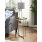 Glass and Bronze Round Side Table