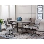 Graphite Gray Oval Dining Table – Timber