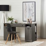 Gray Maple Craft Table with Storage – Artwork