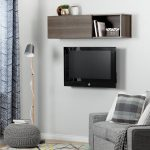 Gray Maple Wall Mounted TV Stand and Shelf (66 Inch) – City Life