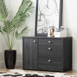 Gray Oak Storage Unit with File Drawer – Interface