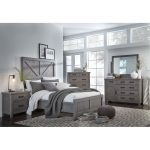 Gray Rustic Contemporary 6 Piece Queen Bedroom Set – Austin