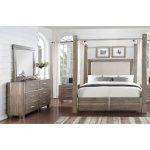 Gray & Silver Contemporary 7-Piece King Canopy Bedroom Set – Buena.
