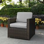 Gray and Brown Wicker Patio Arm Chair – Palm Harbor