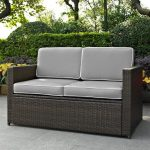 Gray and Brown Wicker Patio Furniture Loveseat – Palm Harbor