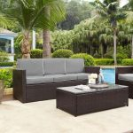 Gray and Brown Wicker Patio Furniture Sofa – Palm Harbor