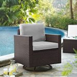 Gray and Brown Wicker Patio Swivel Rocker Chair – Palm Harbor