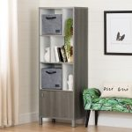 Gray and White Bookcase with Door and Two Baskets – Expoz