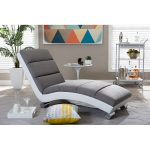 Gray and White Chaise Lounge