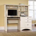 Harbor View Antiqued White Computer Desk with Hutch