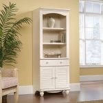 Harbor View Antiqued White Library Bookcase with Doors