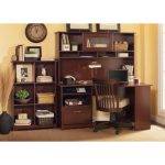 Harvest Cherry Corner Desk with Hutch and Bookcase – Cabot