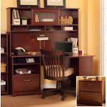 Harvest Cherry Corner Desk with Hutch and Lateral File – Cabot
