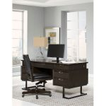 Hickory Brown Executive Desk – Harper Point