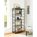 Industrial Style Barnwood and Black Bookcase