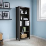 Kathy Ireland Black Oak 5-Shelf Bookcase – Connecticut